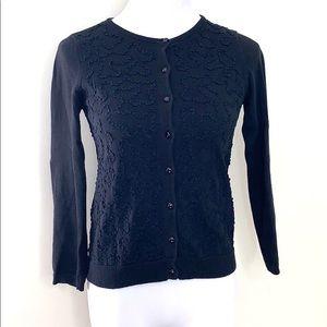 Odille Black Ribbon Detail Knit Cardigan